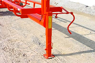 Orange Ox - Orange Ox Self Un-loading Hay Trailers - This pictures shows our 12,000 lb., spring loaded retractable jack